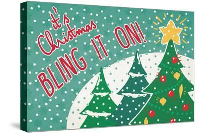 Retro Christmas IV Bright-Janelle Penner-Stretched Canvas Print