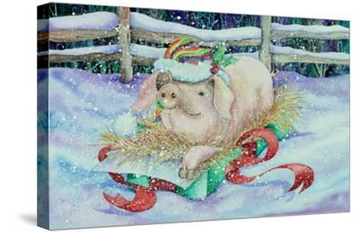 Christmas Pig-Kathleen Parr McKenna-Stretched Canvas Print