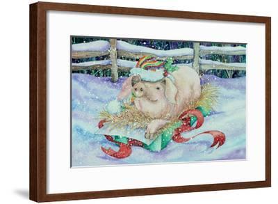 Christmas Pig-Kathleen Parr McKenna-Framed Art Print