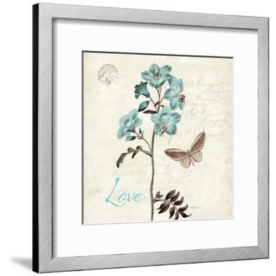 Slated Blue I Square-Katie Pertiet-Framed Art Print