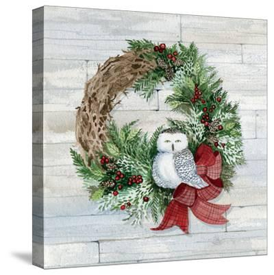 Holiday Wreath II on Wood-Kathleen Parr McKenna-Stretched Canvas Print