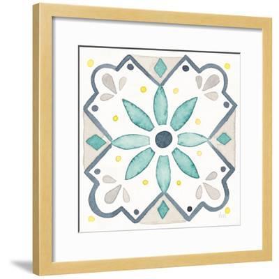 Garden Getaway Tile V White-Laura Marshall-Framed Art Print