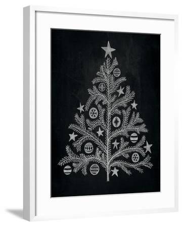 Chalkboard Holiday Trees II-Mary Urban-Framed Art Print
