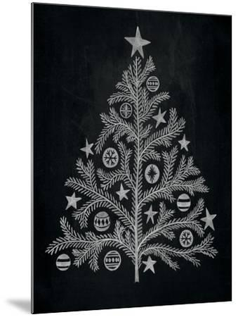 Chalkboard Holiday Trees II-Mary Urban-Mounted Art Print