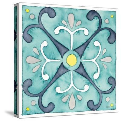 Garden Getaway Tile III Teal-Laura Marshall-Stretched Canvas Print