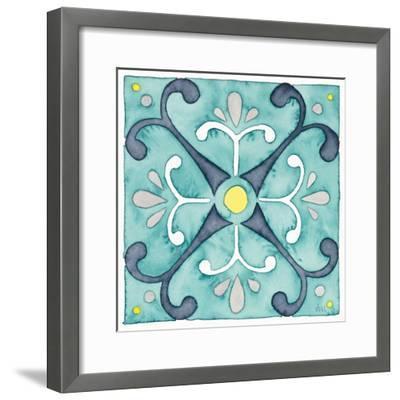 Garden Getaway Tile III Teal-Laura Marshall-Framed Art Print