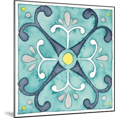 Garden Getaway Tile III Teal-Laura Marshall-Mounted Art Print