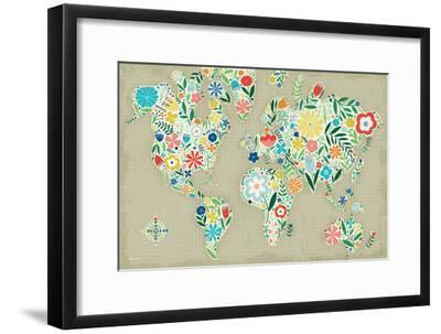 Floral World Tan-Michael Mullan-Framed Art Print