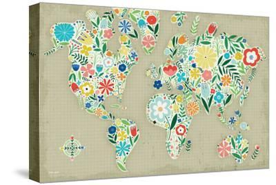 Floral World Tan-Michael Mullan-Stretched Canvas Print