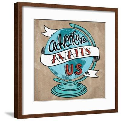 Adventure Love Globe Taupe-Mary Urban-Framed Art Print