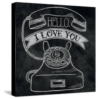 Hello I Love You Chalk-Mary Urban-Stretched Canvas Print