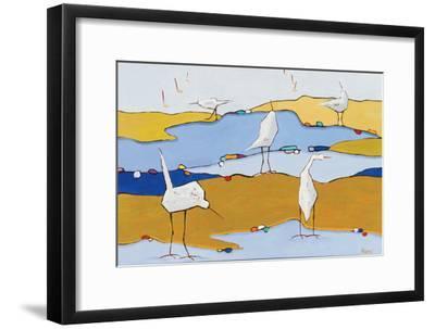 Marsh Egrets VI Dark Sand-Phyllis Adams-Framed Art Print