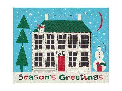 Jolly Holiday Home on Blue-Michael Mullan-Framed Art Print