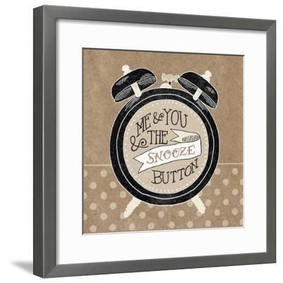 The Snooze Button Taupe-Mary Urban-Framed Art Print
