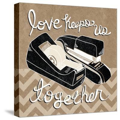 Love Keeps Us Together Taupe-Mary Urban-Stretched Canvas Print