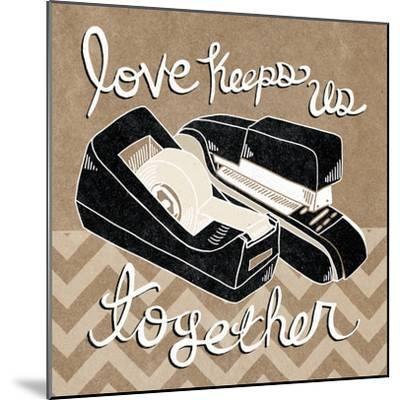 Love Keeps Us Together Taupe-Mary Urban-Mounted Art Print