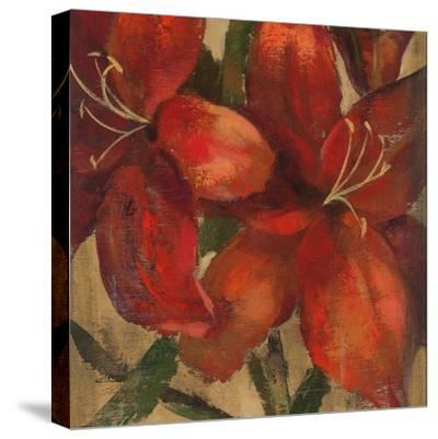 Vivid Red Lily on Gold Crop-Silvia Vassileva-Stretched Canvas Print