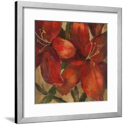 Vivid Red Lily on Gold Crop-Silvia Vassileva-Framed Art Print