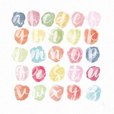 Watercolor Alphabet-Sarah Adams-Stretched Canvas Print