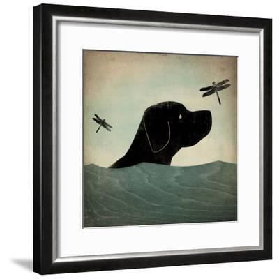 Black Dog Swim-Ryan Fowler-Framed Art Print