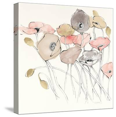 Black Line Poppies I Watercolor Neutral-Shirley Novak-Stretched Canvas Print