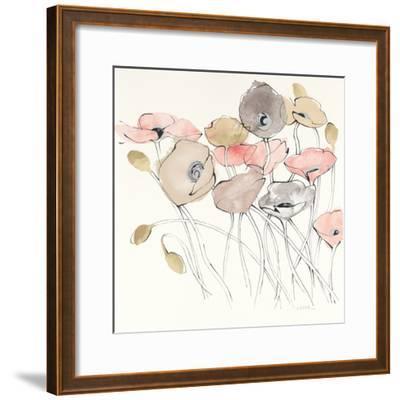 Black Line Poppies I Watercolor Neutral-Shirley Novak-Framed Art Print