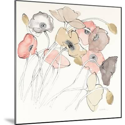 Black Line Poppies II Watercolor Neutral-Shirley Novak-Mounted Art Print