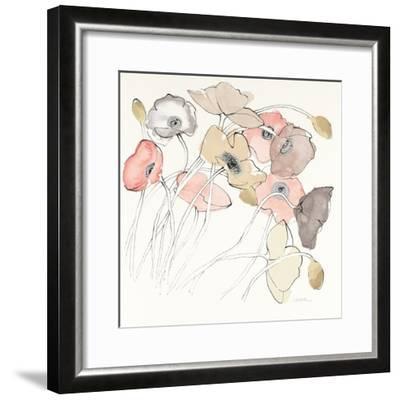 Black Line Poppies II Watercolor Neutral-Shirley Novak-Framed Art Print