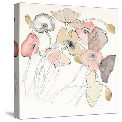 Black Line Poppies II Watercolor Neutral-Shirley Novak-Stretched Canvas Print