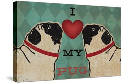 Pug and Pug - I Love My Pug-Ryan Fowler-Stretched Canvas Print