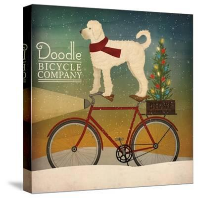 White Doodle on Bike Christmas-Ryan Fowler-Stretched Canvas Print