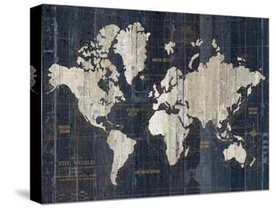 Old World Map Blue v2-Wild Apple Portfolio-Stretched Canvas Print