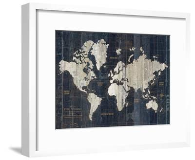 Old World Map Blue v2-Wild Apple Portfolio-Framed Art Print
