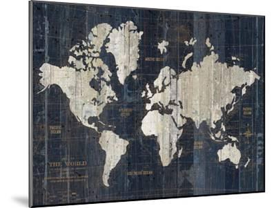 Old World Map Blue v2-Wild Apple Portfolio-Mounted Art Print