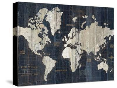 Old World Map Blue Crop-Wild Apple Portfolio-Stretched Canvas Print