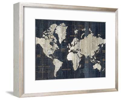 Old World Map Blue Crop-Wild Apple Portfolio-Framed Art Print