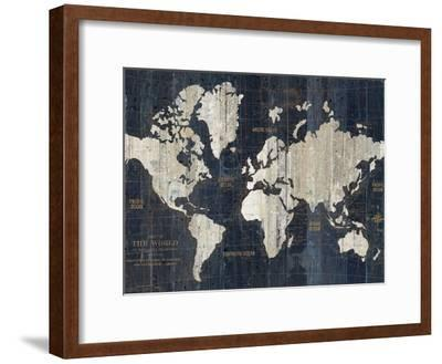 Old World Map Blue Crop-Wild Apple Portfolio-Framed Premium Giclee Print