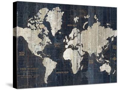 Old World Map Blue Crop-Wild Apple Portfolio-Stretched Canvas Print