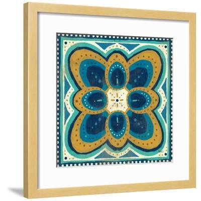 Proud as a Peacock Tile III-Veronique Charron-Framed Art Print