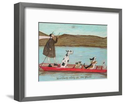 Woofing along on the River-Sam Toft-Framed Art Print