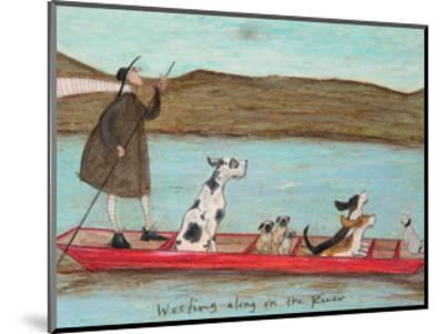 Woofing along on the River-Sam Toft-Mounted Art Print