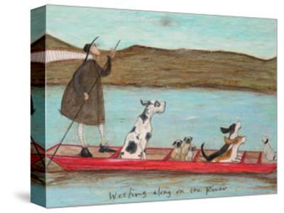 Woofing along on the River-Sam Toft-Stretched Canvas Print