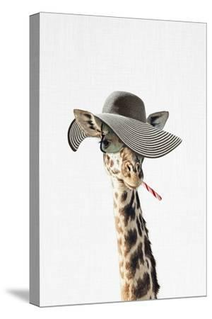 Giraffe Dressed in a Hat-Tai Prints-Stretched Canvas Print