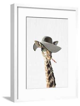 Giraffe Dressed in a Hat-Tai Prints-Framed Art Print