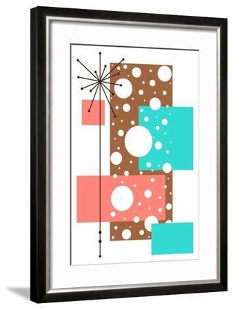 Lacuna - Aqua and Brown-Tonya Newton-Framed Art Print