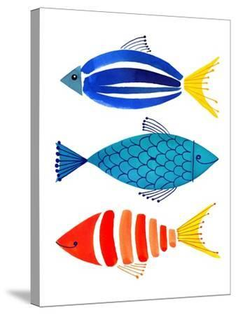 Summer Fish Trio-Margaret Berg-Stretched Canvas Print