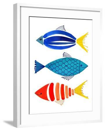 Summer Fish Trio-Margaret Berg-Framed Art Print