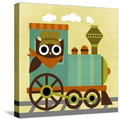 Owl Train Conductor-Nancy Lee-Stretched Canvas Print