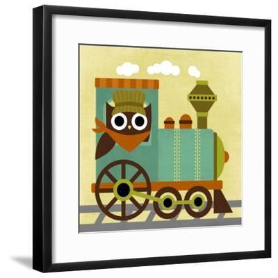 Owl Train Conductor-Nancy Lee-Framed Art Print