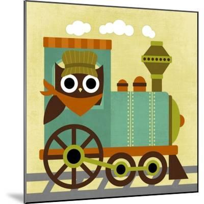 Owl Train Conductor-Nancy Lee-Mounted Art Print